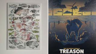 Headlines about an angler banned from fishing for being too good, and the theft of beach pebbles inspired other artwork