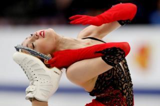 Switzerland's Alexia Paganini on the ice