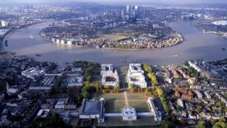 aerial shot of University of Greenwich