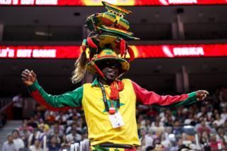 A fan of Senegal dances during the 2019 FIBA World Cup