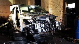 A car stripped down