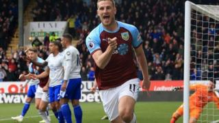 Chris Wood celebrates scoring for Burnley against Cardiff City
