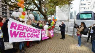 Campaigners welcome child migrants at Lunar House in Croydon