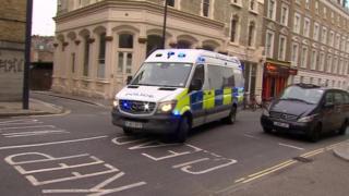 Police van arriving at Westminster Magistrates' Court