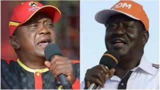 Rais Uhuru Kenyatta na mpinzani wake Raila Odinga