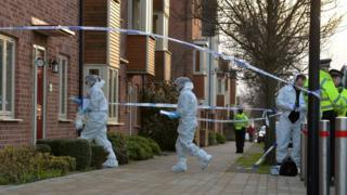 Police and forensic officers at the scene in Allerton Bywater