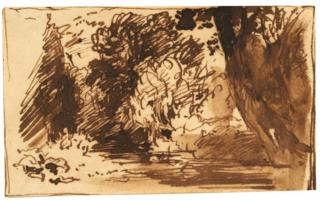 One of the two studies by John Constable