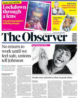 The Observer front page 10 May