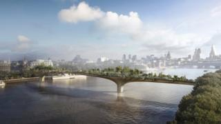 Artists impression of the proposed Garden Bridge over the River Thames