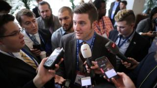 Richard Spencer and reporters