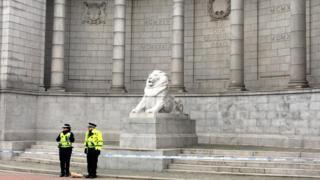 Police at war memorial