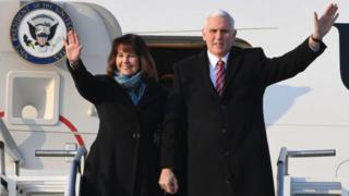 Mr and Mrs Pence on a trip to South Korea in 2018