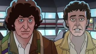 Animated Tom Baker and Daniel Hill in Shada