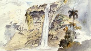 Pintura de Moritz Rugendas, 'Cachoeira de Ouro Preto'