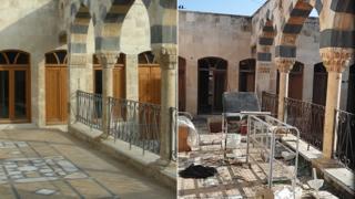 La terraza de la casa de Zahed, antes y después de la guerra.
