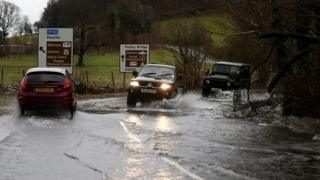 A flooded road near Ullswater in Cumbria following Storm Frank at the end of December 2015