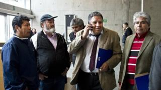 Miners Victor Zamora, Jorge Galleguillos, Luis Urzua and Mario Gomez arrive at the courthouse in Santiago on 2 November, 2015.