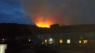 flames on the hill above Swansea