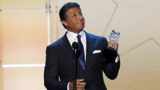 Sylvester Stallone after winning a Critics' Choice Award