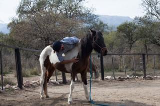 El hijo mayor de Oscar. Cristobal, en el corral con un caballo.