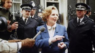 Margaret Thatcher wearing the amethyst ring outside 10 Downing Street in 1979