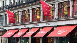Hamleys shop and brand logo in London