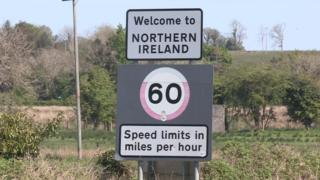 Irish border road sign