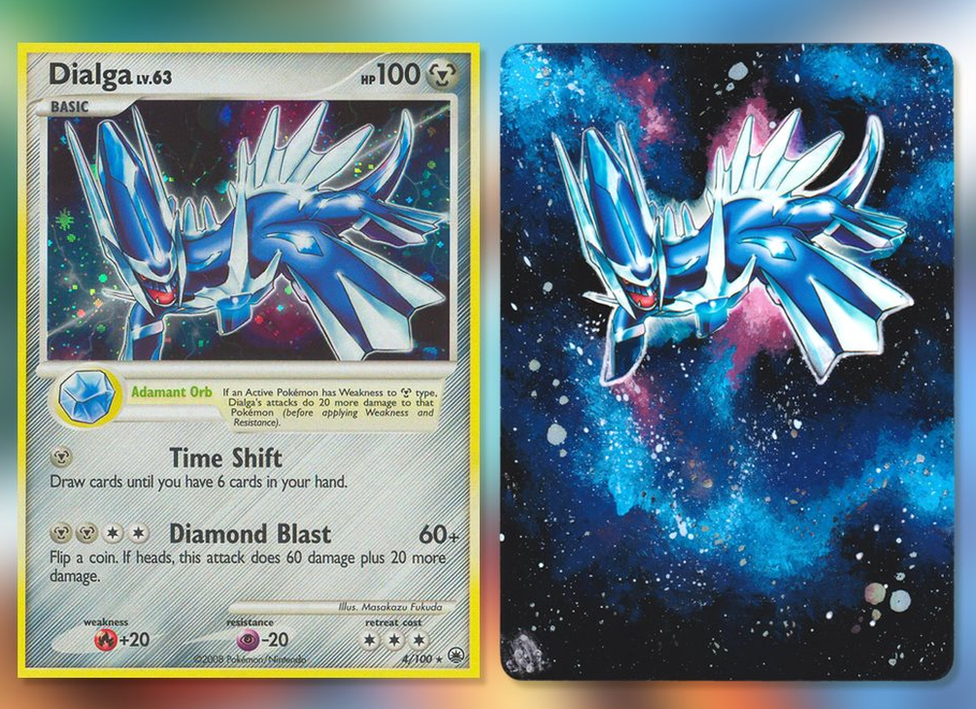 A Dialga. The Pokemon card is quite different to the others, with a space theme caused by a shiny card. The artwork has been extended, with the entire card now shiny.