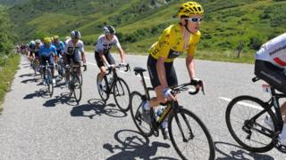Geraint Thomas in the leader's yellow jersey in the 2018 Tour de France