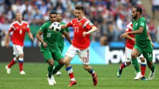 مباراة السعودية وروسيا في كأس العالم