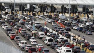 Cars on the border of Mexico and the US on March 29