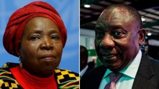 Mr Ramaphosa (Midig) Ms Dlamini-Zuma (Bidix)