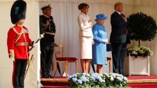 Королева Елизавета, Дональд Трамп с супругой
