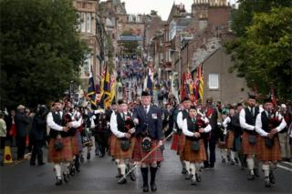 Parade by veterans and serving soldiers from The Royal Regiment of Scotland Black Watch (3 SCOTS)