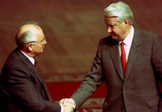 Mijaíl Gorbachov y Boris Yeltsin