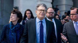 Former US Senator Al Franken leaves the Senate floor on 7 December, 2017 after delivering a speech resigning from his post