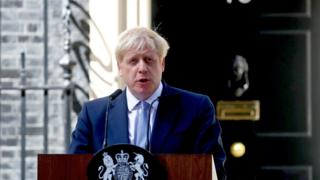 Boris Johnson gives a speech outside Downing Street