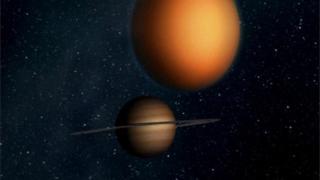Dibujo de Saturno y Titán