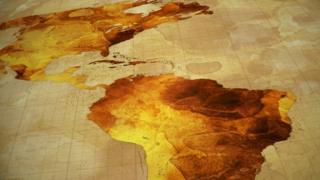 Mapa das Américas em tom amarelado