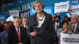"""Image copyright PA Theresa May has said she will change human rights laws if they """"get in the way"""" of tackling suspected terrorists.The PM said she would make it easier to deport foreign terror suspects and """"restrict the freedom and movements"""" of those that present a threat.Security has dominated the final days of the general election campaign after the terror attacks in London and Manchester.Rival parties have been criticising the Tories over police cuts. Live: Follow the latest developments in the campaign Election battle over police funding Manifesto guide: What the parties are promising Speaking after the London attack, Mrs May said """"enough is enough"""" and said """"things need to change"""" in the terror fight. Addressing activists in Slough on Tuesday evening, she did not make any specific new policy proposals but said: """"I mean longer prison sentences for those convicted of terrorist offences.""""I mean making it easier for the authorities to deport foreign terrorist suspects back to .."""