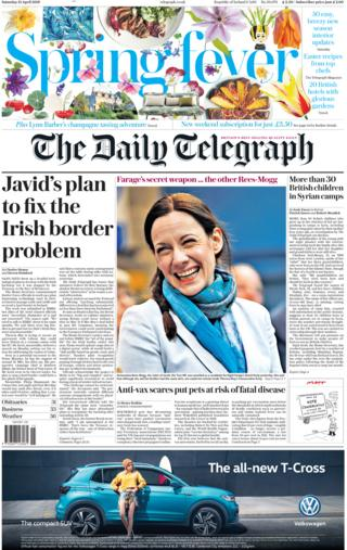 Daily Telegraph front page, 13/4/19