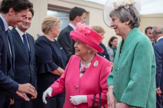 Prime Minister Theresa May introduced the Queen to the gathered world leaders, including Canada's Prime Minister Justin Trudeau, seen above on left