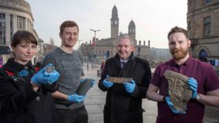 Museum decant team members Stella Hook, Archie Henderson, Cllr Jim Harte and Joel Fagan