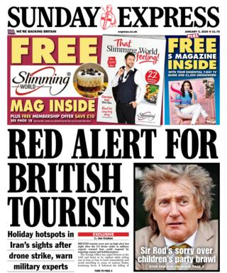 Sunday Express front page 5 January 2020