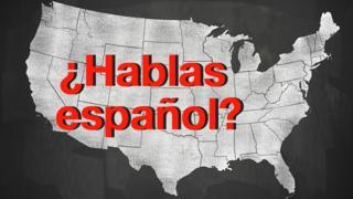 Mapa de Estados Unidos con la pregunta ¿hablas español?