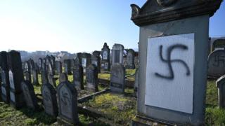 Graffiti at a Jewish cemetery in France