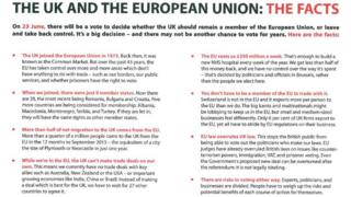 Leaflet from Vote Leave