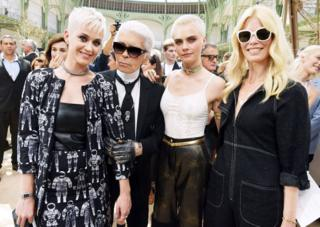 Katy Perry, Karl Lagerfeld, Cara Delevingne and Claudia Schiffer