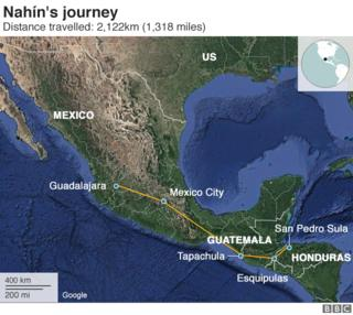 Map showing the journey Nahín made