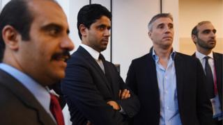 Nasser Al-khelaïfi aux côté de Herman Crespo, à l'issue d'un dîner de partenaires.